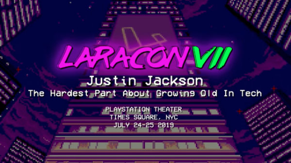 Cover screen for Justin Jackson's Laracon 2019 talk: Growing Old In Tech
