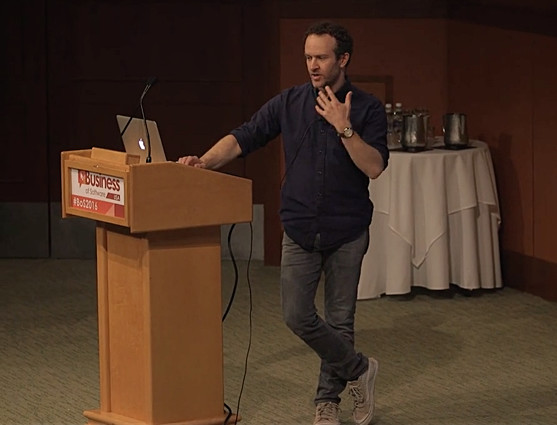 Jason Fried presenting at the podium at the Business Of Software 2016 conference